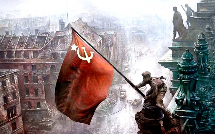 Bandera soviética elevada sobre el Reichstag