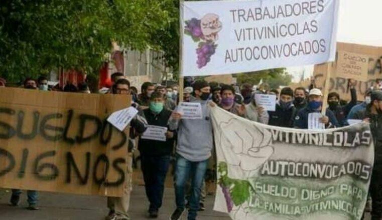 Mendoza, Argentina, histórica huelga de trabajadores vitivinícolas.
