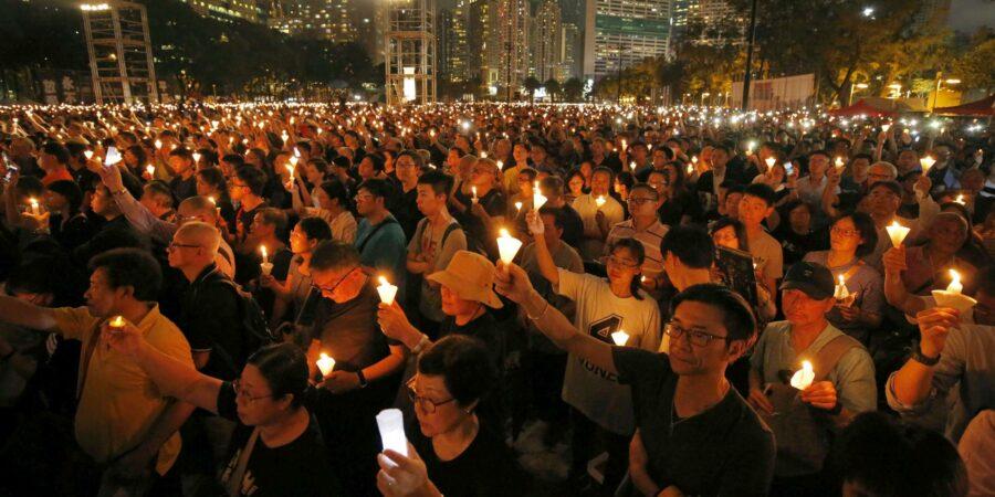 Represión policial de la vigilia del aniversario de Tiananmen en Hong Kong
